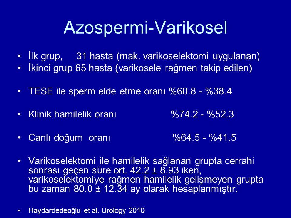 Azospermi-Varikosel İlk grup, 31 hasta (mak. varikoselektomi uygulanan) İkinci grup 65 hasta (varikosele rağmen takip edilen) TESE ile sperm elde etme