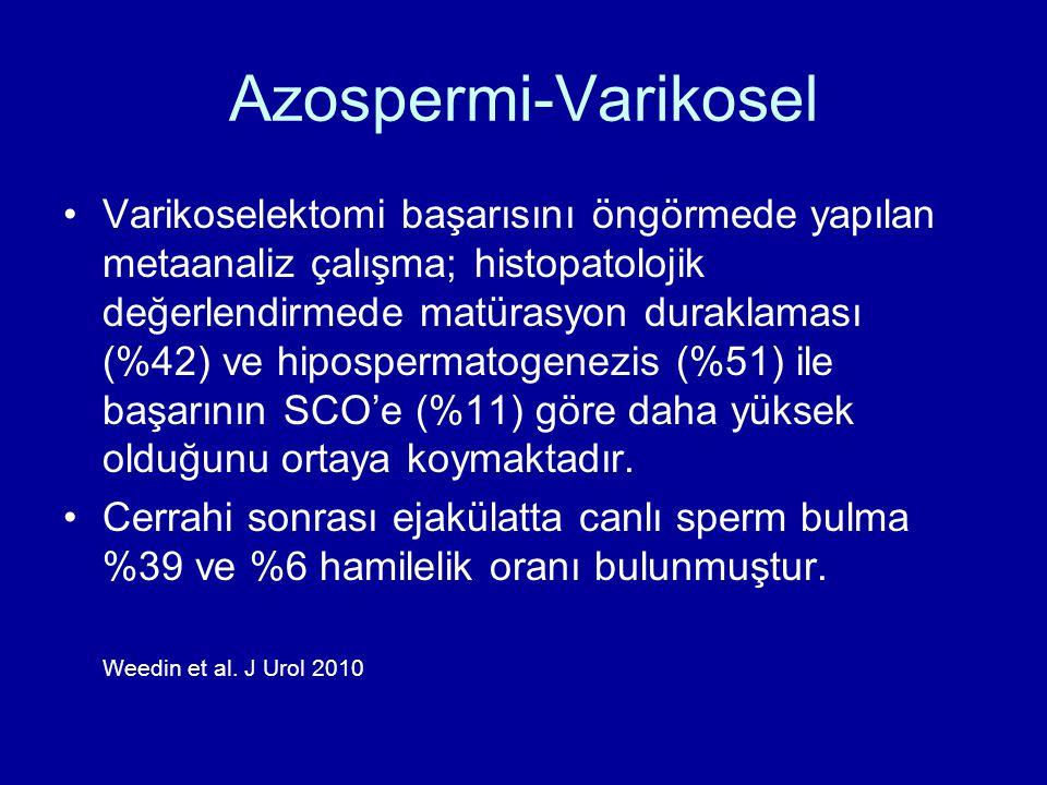 Azospermi-Varikosel Varikoselektomi başarısını öngörmede yapılan metaanaliz çalışma; histopatolojik değerlendirmede matürasyon duraklaması (%42) ve hi