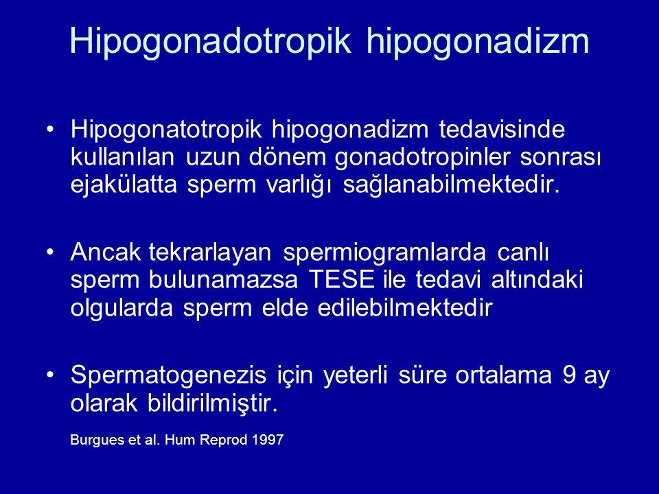 Hipogonadotropik hipogonadizm Hipogonatotropik hipogonadizm tedavisinde kullanılan uzun dönem gonadotropinler sonrası ejakülatta sperm varlığı sağlana