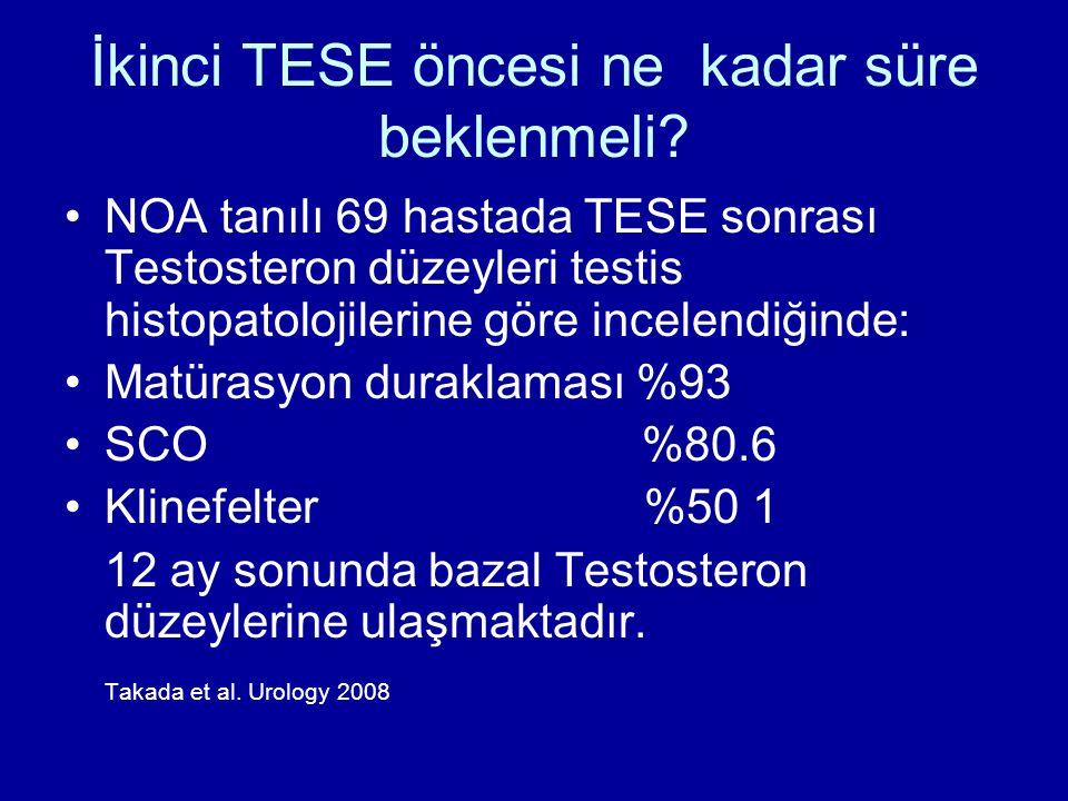 İkinci TESE öncesi ne kadar süre beklenmeli? NOA tanılı 69 hastada TESE sonrası Testosteron düzeyleri testis histopatolojilerine göre incelendiğinde: