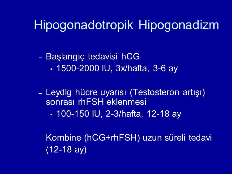 Hipogonadotropik Hipogonadizm – Başlangıç tedavisi hCG 1500-2000 IU, 3x/hafta, 3-6 ay – Leydig hücre uyarısı (Testosteron artışı) sonrası rhFSH eklenm