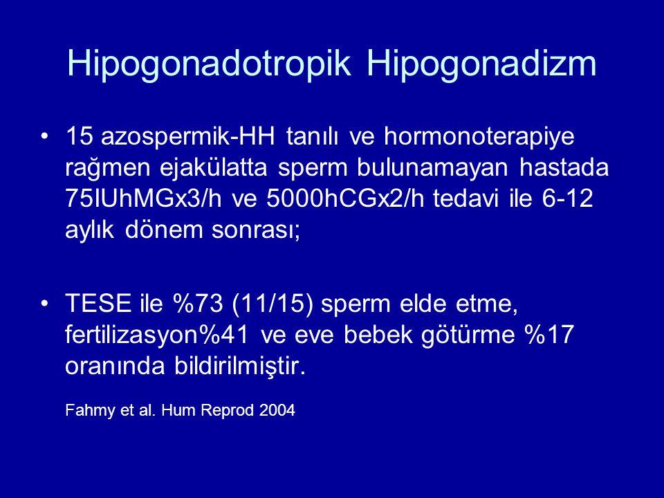 Hipogonadotropik Hipogonadizm 15 azospermik-HH tanılı ve hormonoterapiye rağmen ejakülatta sperm bulunamayan hastada 75IUhMGx3/h ve 5000hCGx2/h tedavi