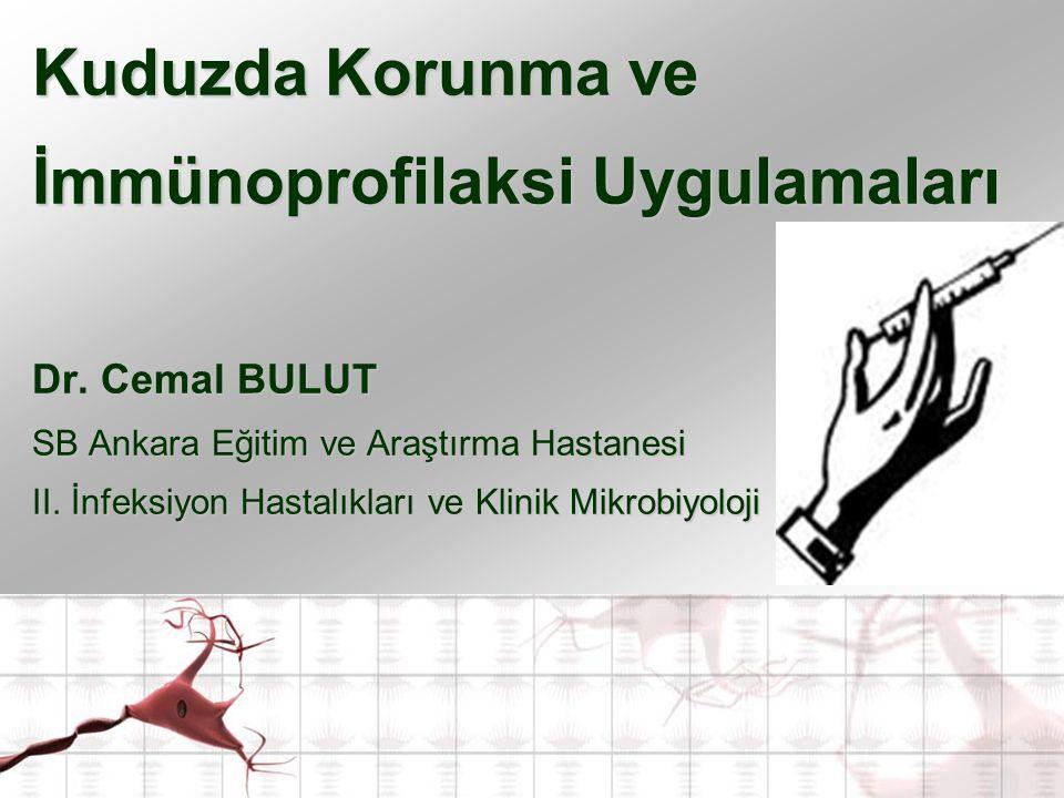 Kuduzda Korunma ve İmmünoprofilaksi Uygulamaları Dr. Cemal BULUT SB Ankara Eğitim ve Araştırma Hastanesi II. İnfeksiyon Hastalıkları ve Klinik Mikrobi