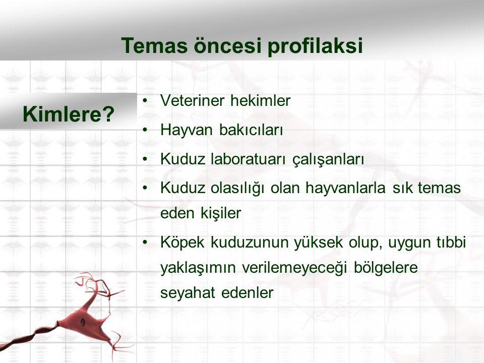 Veteriner hekimler Hayvan bakıcıları Kuduz laboratuarı çalışanları Kuduz olasılığı olan hayvanlarla sık temas eden kişiler Köpek kuduzunun yüksek olup