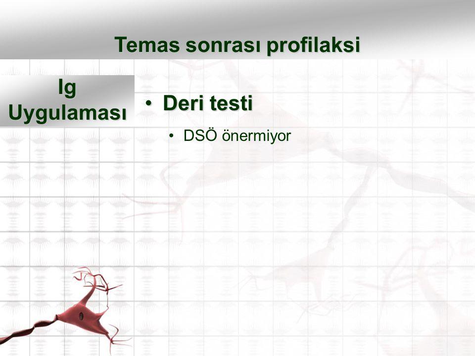 Deri testiDeri testi DSÖ önermiyor Temas sonrası profilaksi Ig Uygulaması