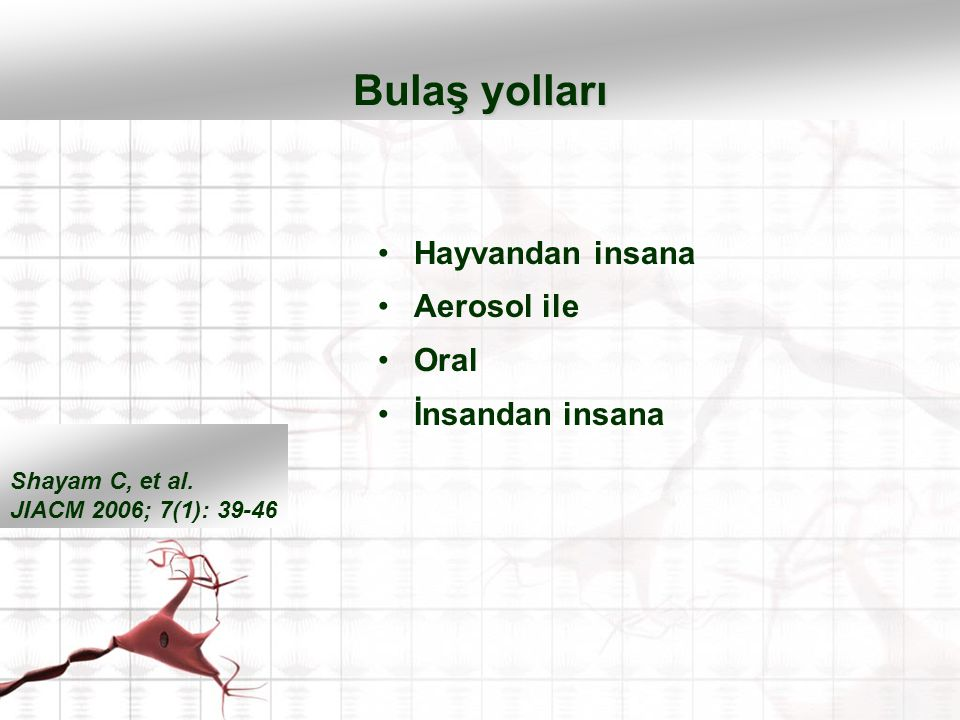 Hayvandan insana Aerosol ile Oral İnsandan insana Bulaş yolları Shayam C, et al. JIACM 2006; 7(1): 39-46