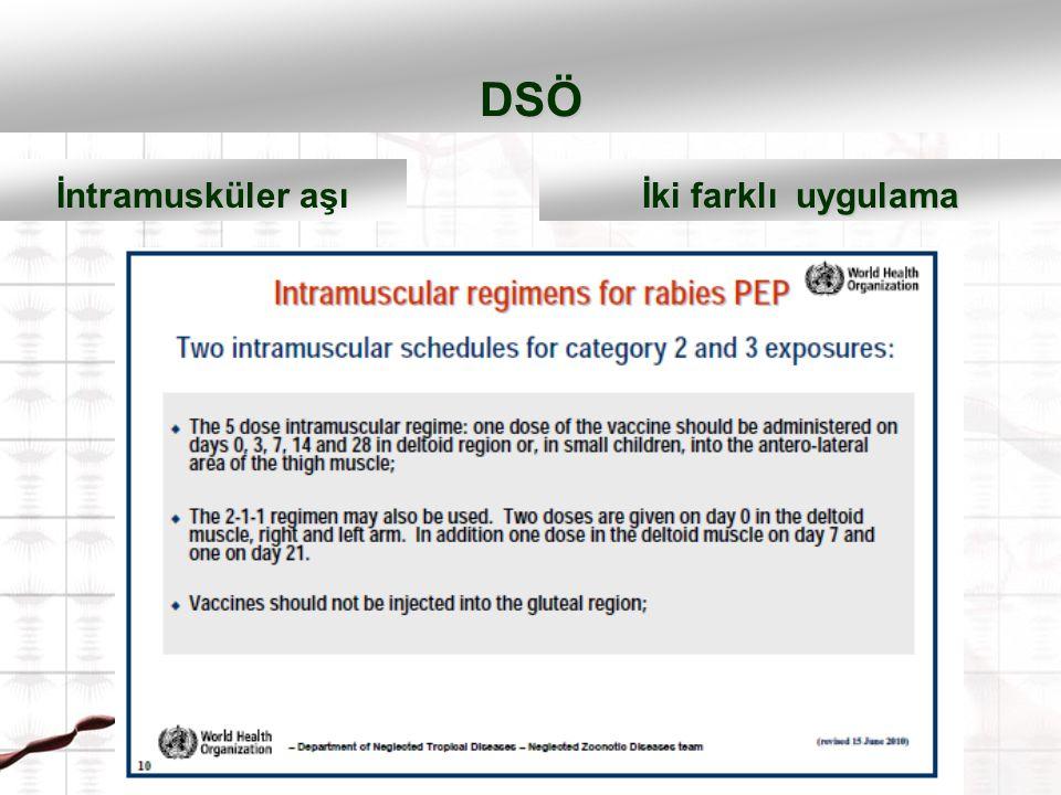 DSÖ İntramusküler aşı İki farklı uygulama 2-1-10.,7.,21. günde 3 başvuru 0.,3.,7.,14. ve 28. günde 5 başvuru 1-1-1-1-1 0.,3.,7.,14. ve 28. günde 5 baş