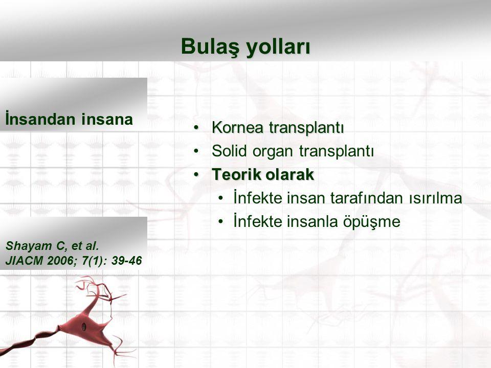 Kornea transplantıKornea transplantı Solid organ transplantı Teorik olarakTeorik olarak İnfekte insan tarafından ısırılma İnfekte insanla öpüşme Bulaş