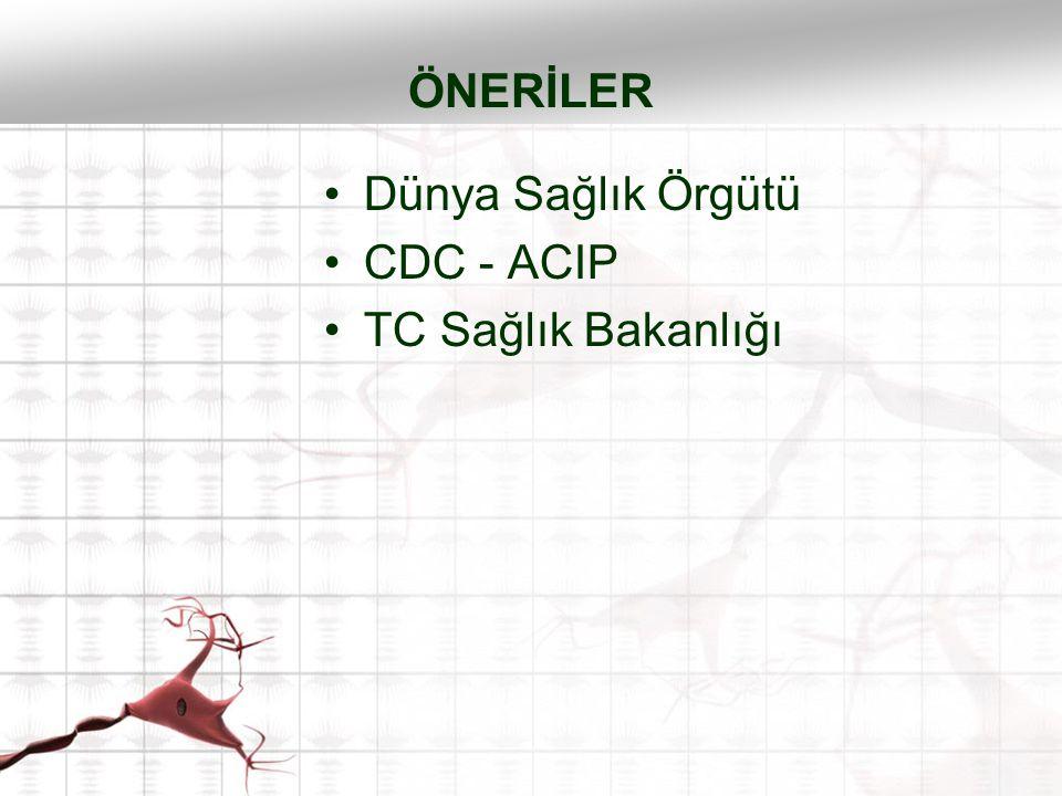 Dünya Sağlık Örgütü CDC - ACIP TC Sağlık Bakanlığı ÖNERİLER