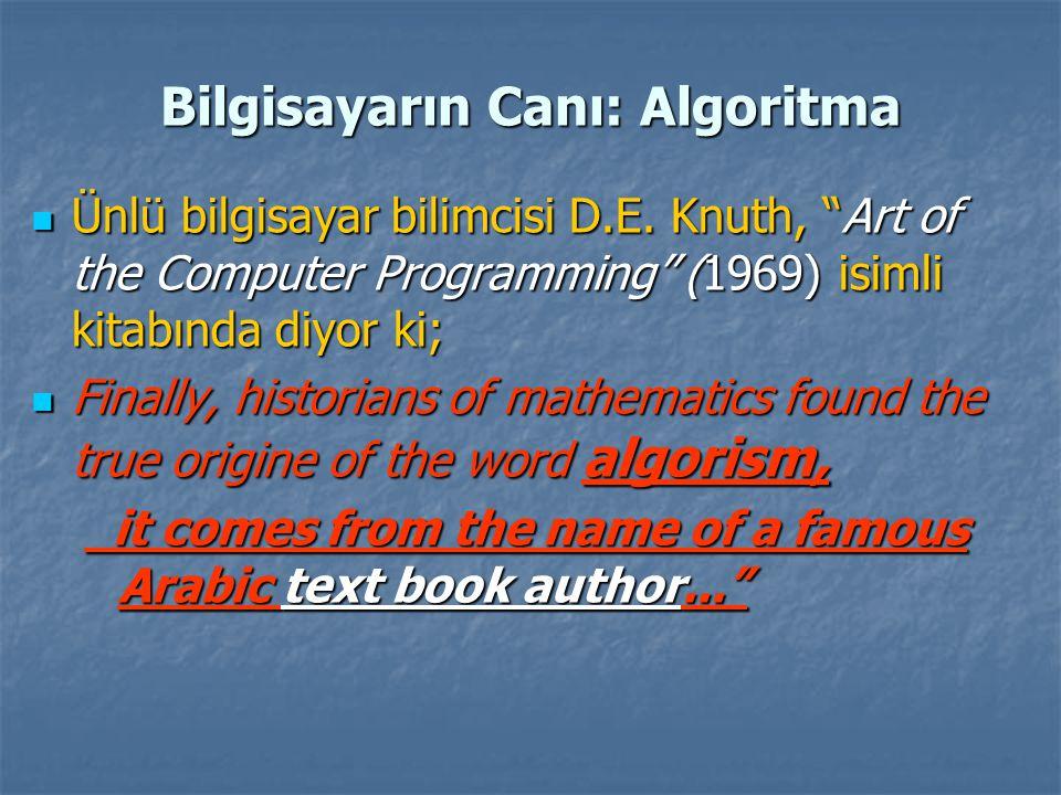 """Bilgisayarın Canı: Algoritma Ünlü bilgisayar bilimcisi D.E. Knuth, """"Art of the Computer Programming"""" (1969) isimli kitabında diyor ki; Ünlü bilgisayar"""