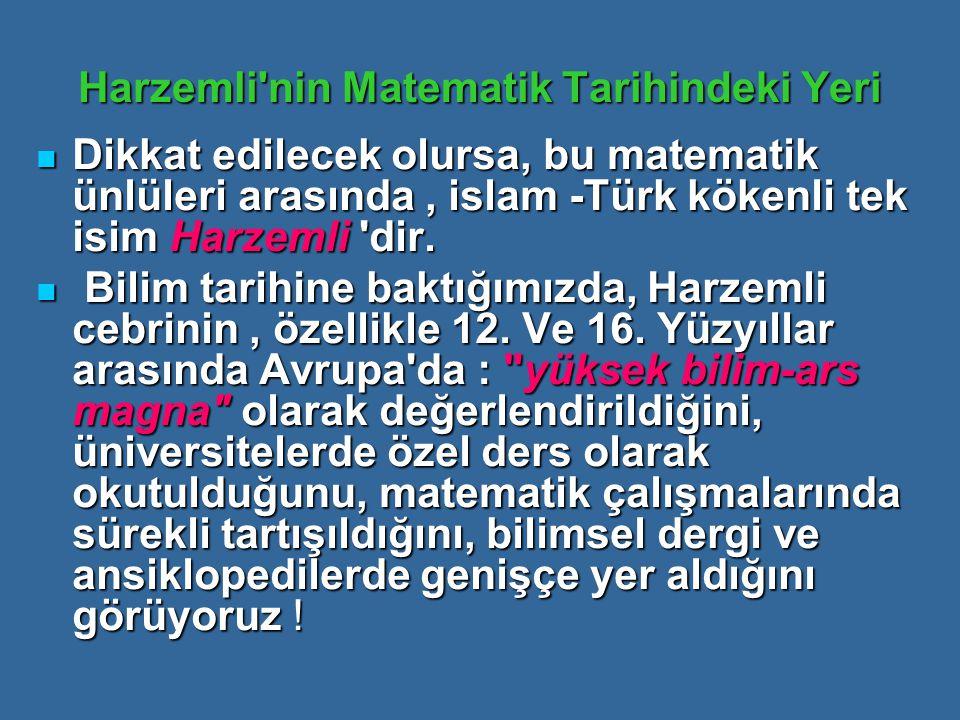 Harzemli'nin Matematik Tarihindeki Yeri Dikkat edilecek olursa, bu matematik ünlüleri arasında, islam -Türk kökenli tek isim Harzemli 'dir. Dikkat edi