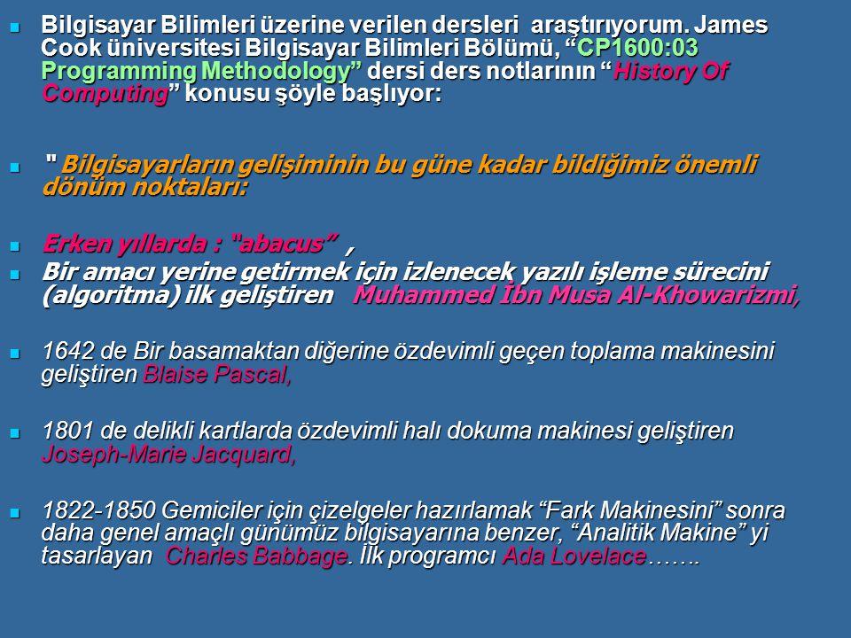 """Bilgisayar Bilimleri üzerine verilen dersleri araştırıyorum. James Cook üniversitesi Bilgisayar Bilimleri Bölümü, """"CP1600:03 Programming Methodology"""""""