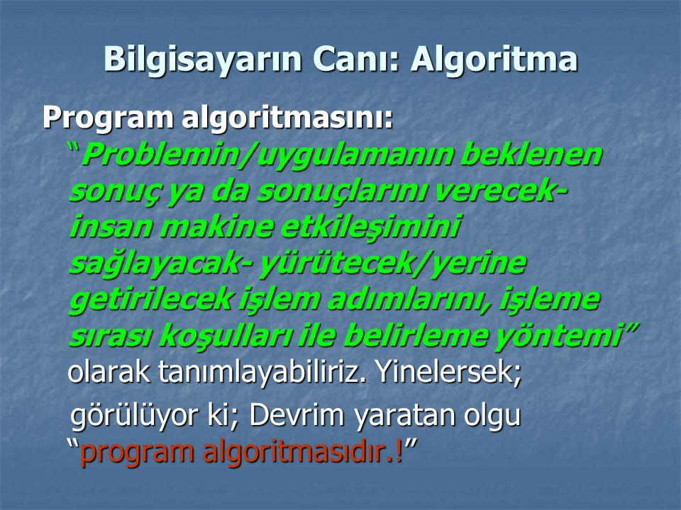 Bilgisayarın Canı: Algoritma Program algoritmasını: Problemin/uygulamanın beklenen sonuç ya da sonuçlarını verecek- insan makine etkileşimini sağlayacak- yürütecek/yerine getirilecek işlem adımlarını, işleme sırası koşulları ile belirleme yöntemi olarak tanımlayabiliriz.