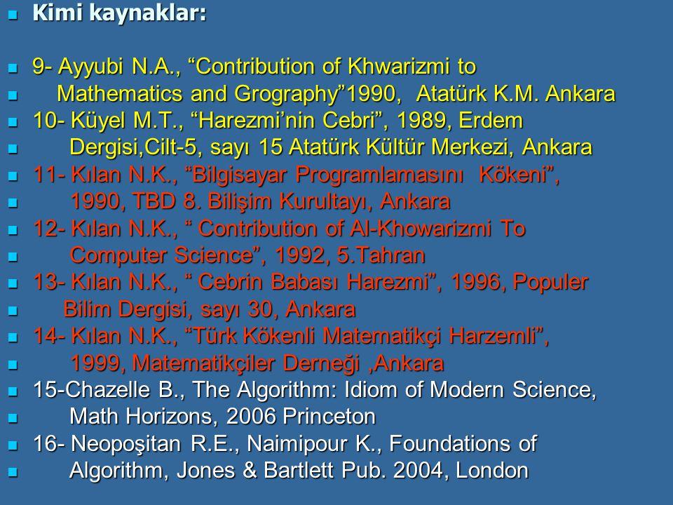 Kimi kaynaklar: Kimi kaynaklar: 9- Ayyubi N.A., Contribution of Khwarizmi to 9- Ayyubi N.A., Contribution of Khwarizmi to Mathematics and Grography 1990, Atatürk K.M.