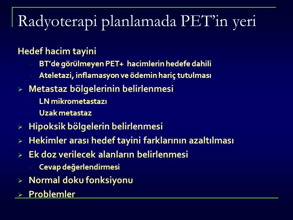 Radyoterapi planlamada PET'in yeri Hedef hacim tayini  BT'de görülmeyen PET+ hacimlerin hedefe dahili  Ateletazi, inflamasyon ve ödemin hariç tutulm
