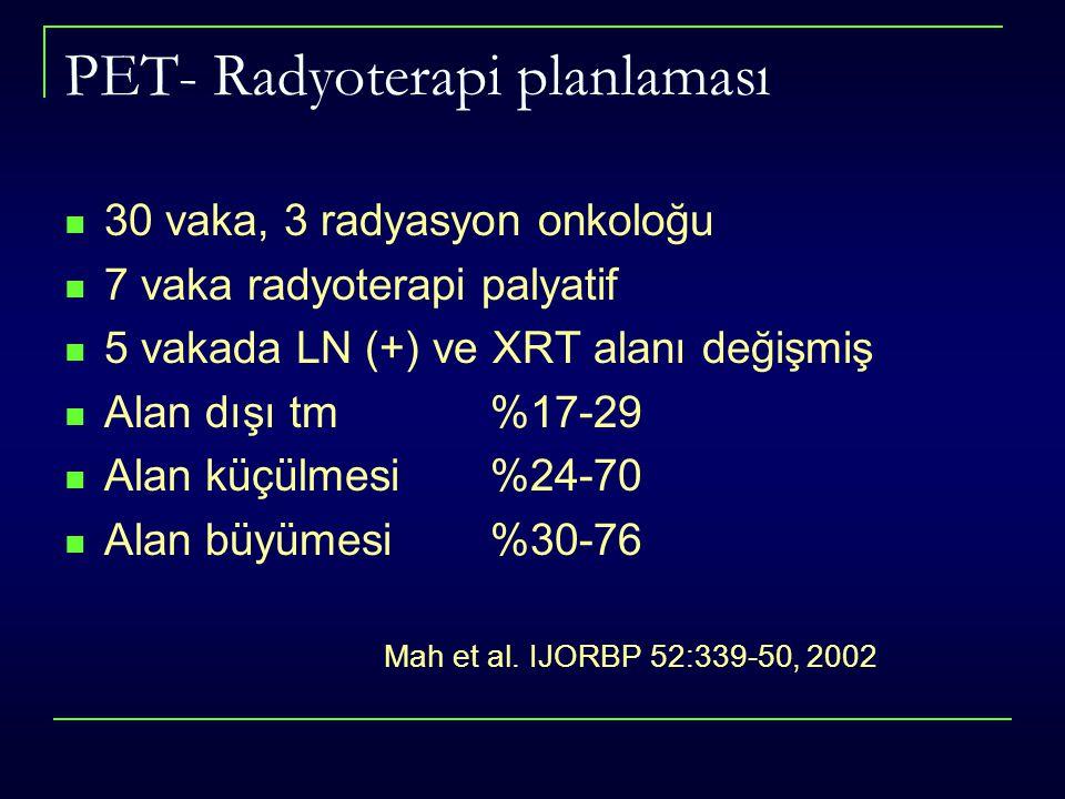 PET- Radyoterapi planlaması 30 vaka, 3 radyasyon onkoloğu 7 vaka radyoterapi palyatif 5 vakada LN (+) ve XRT alanı değişmiş Alan dışı tm %17-29 Alan k