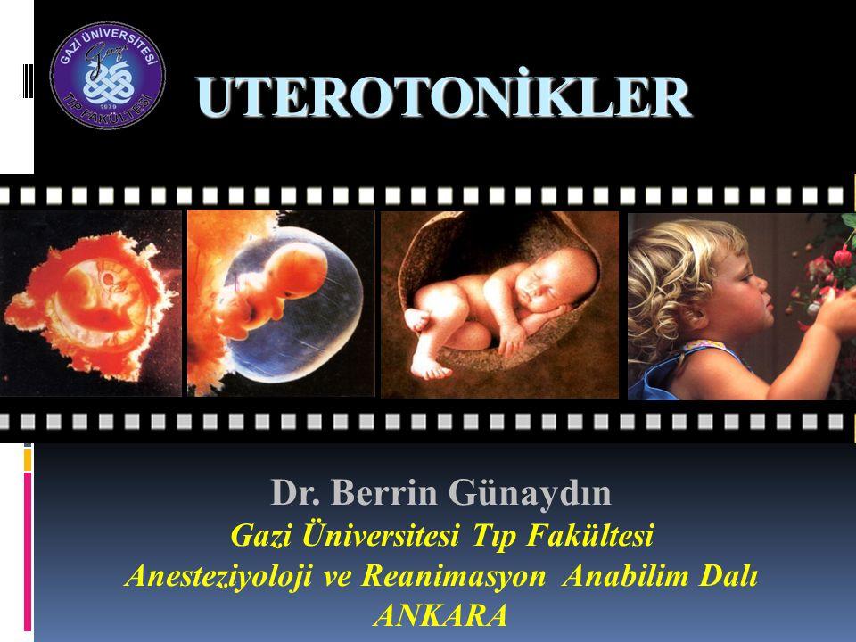 Oksitosinin Yan (advers) Etkileri Maternal-Aritmi-Hipotansiyon-Taşikardi -Miyokard iskemisi -Bulantı-kusma-Başağrısı -Uterus hiperstimülasyonu -Vazopressine yapısal benzerliği nedeniyle yüksek dozlarda nadiren su retansiyonu, hiponatremi, nöbet, koma Fetal Kontraksiyon sıklığına bağlı SaO2'de azalma NeonatalNöbetHiperbilirübinemi Retina kanaması Tsen IJOA 2010 Dyer et al Curr Opin Anesthesiol 2011