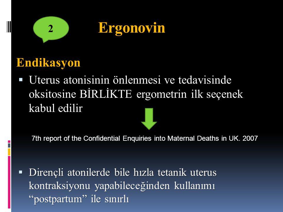 Ergonovin Endikasyon  Uterus atonisinin önlenmesi ve tedavisinde oksitosine BİRLİKTE ergometrin ilk seçenek kabul edilir  Dirençli atonilerde bile h