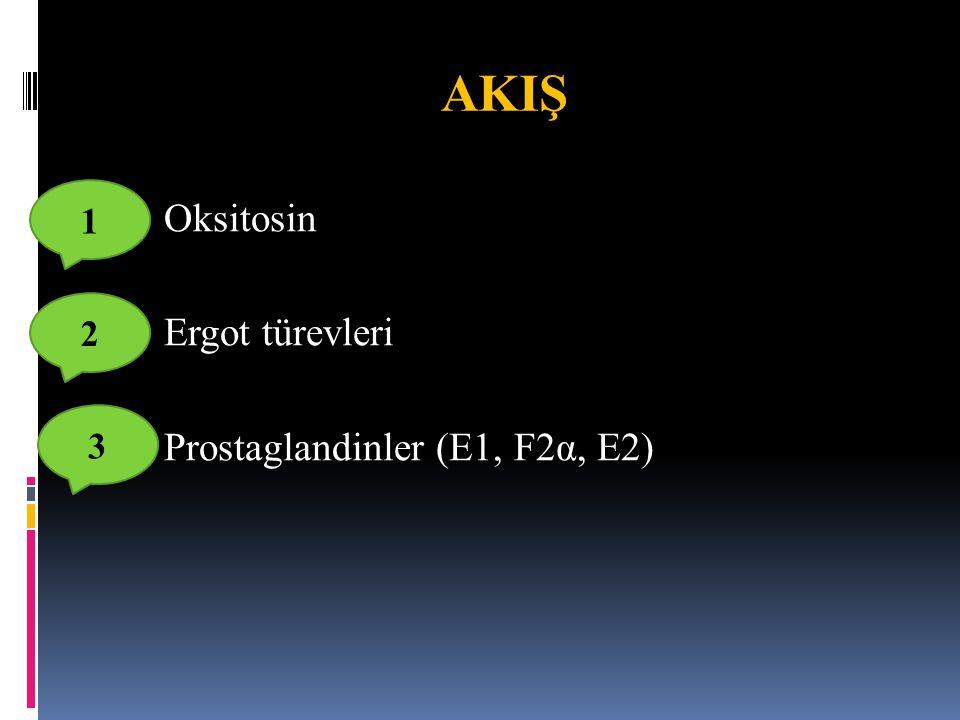  Oksitosin  Ergot türevleri  Prostaglandinler (E1, F2α, E2) AKIŞ 2 1 3