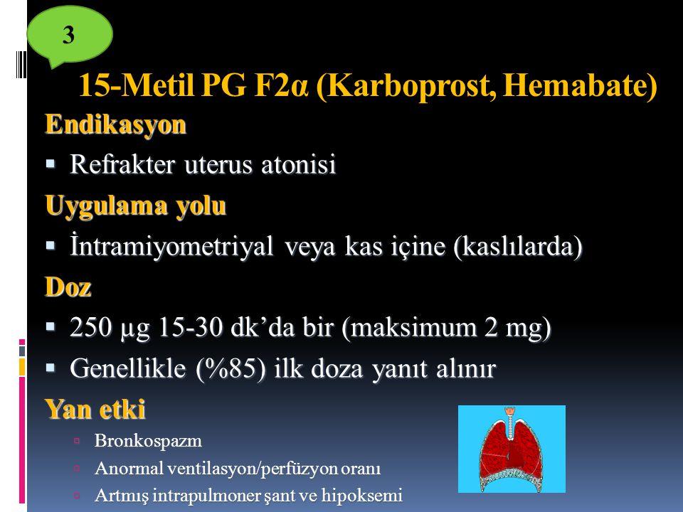 Endikasyon  Refrakter uterus atonisi Uygulama yolu  İntramiyometriyal veya kas içine (kaslılarda) Doz  250 µg 15-30 dk'da bir (maksimum 2 mg)  Gen