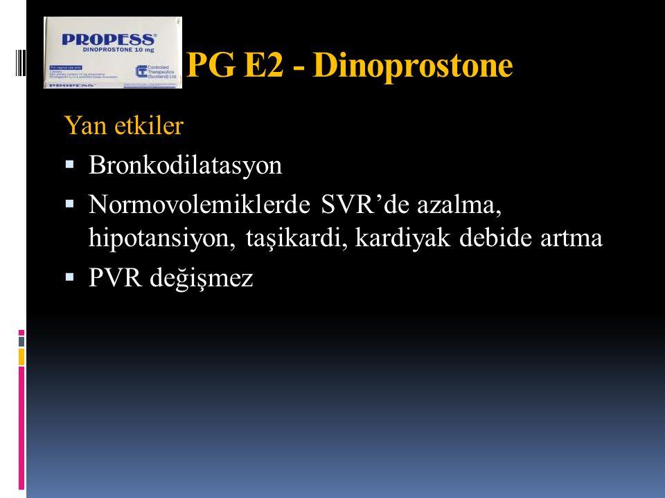 Yan etkiler  Bronkodilatasyon  Normovolemiklerde SVR'de azalma, hipotansiyon, taşikardi, kardiyak debide artma  PVR değişmez PG E2 - Dinoprostone