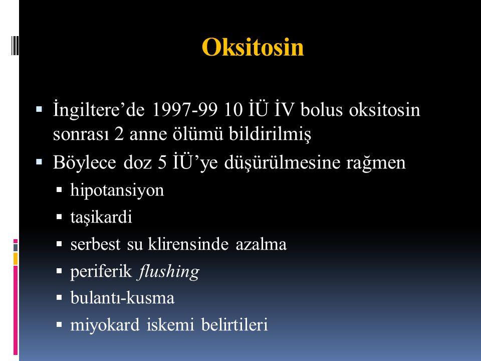 Carbetocin – sentetik oksitosin analoğu  Oksitosinin in vivo yarı ömrü 10-15 dk  Karbetosinin ise 4-10 kat uzun  İV 8-30 µg ve İM 10-70 µg sonrası tetanik uterus kontraksiyonları başlar ve ritmik kontraksiyonlar sırasıyla 60 ve 120 dk sürer  Sezaryende önerilen doz İM 100 µg  Vajinal doğumda maksimum tolere edilen doz 200 µg  Yan etkiler oksitosine benzer  Preeklampside kontrendike 