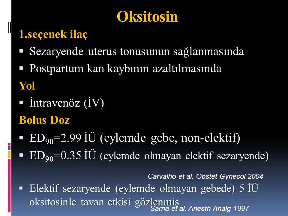 1.seçenek ilaç  Sezaryende uterus tonusunun sağlanmasında  Postpartum kan kaybının azaltılmasında Yol  İntravenöz (İV) Bolus Doz  ED 90 =2.99 İÜ (