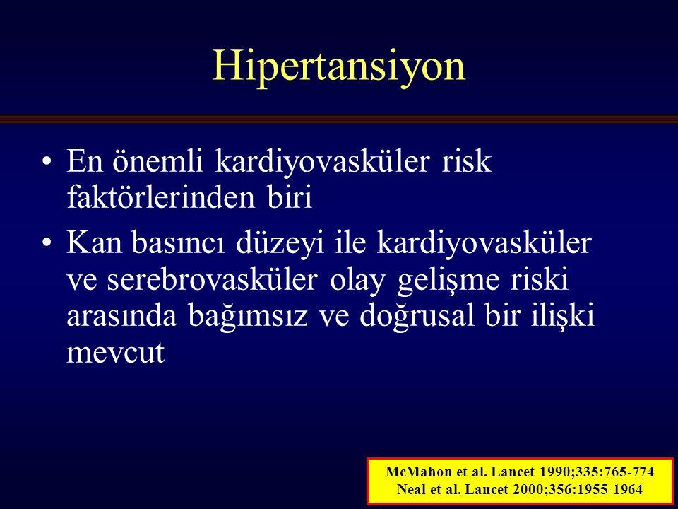 4 ESH/ESC 2007: KB Sınıflaması Kan Basıncı ve KV Risk A: Sistolik Kan Basıncı 40-49 yaş 50-59 yaş 60-69 yaş 70-79 yaş 80-89 yaş 256 128 64 32 16 8 4 2 1 120140160180 SKB (mm Hg) B: Diastolik Kan Basıncı İskemik Kalp Hastalığı Mortalitesi 256 128 64 32 16 8 4 2 1 708090100110 DKB (mm Hg) Lewington et al.