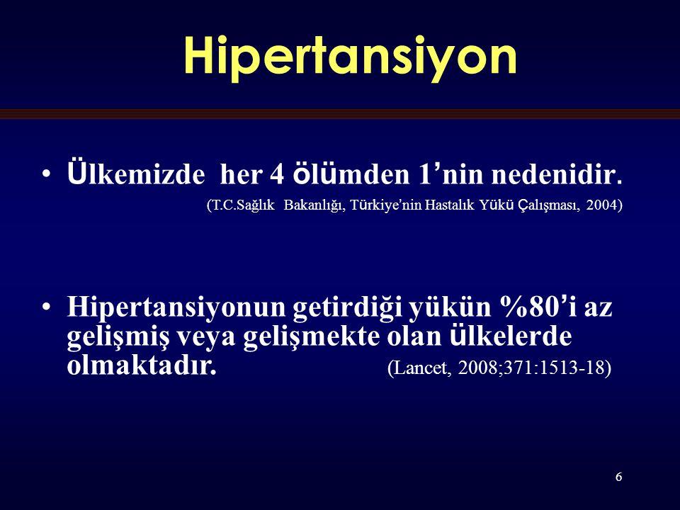 6 Hipertansiyon Ü lkemizde her 4 ö l ü mden 1 ' nin nedenidir.