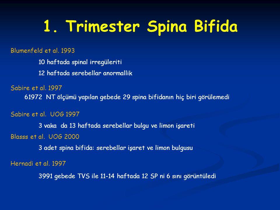 1. Trimester Spina Bifida Sabire et al. 1997 61972 NT ölçümü yapılan gebede 29 spina bifidanın hiç biri görülemedi Blumenfeld et al. 1993 10 haftada s