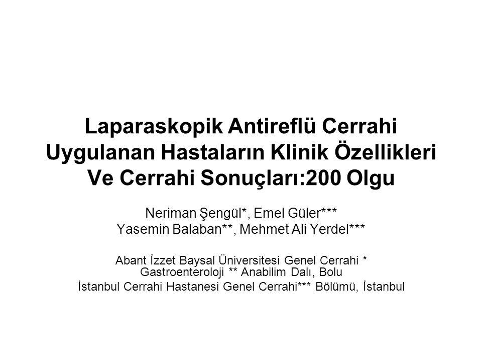 Laparaskopik Antireflü Cerrahi Uygulanan Hastaların Klinik Özellikleri Ve Cerrahi Sonuçları:200 Olgu Neriman Şengül*, Emel Güler*** Yasemin Balaban**,