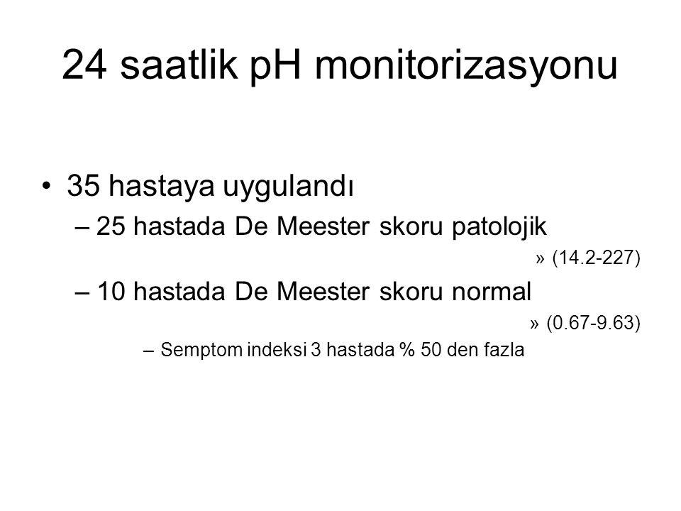 24 saatlik pH monitorizasyonu 35 hastaya uygulandı –25 hastada De Meester skoru patolojik »(14.2-227) –10 hastada De Meester skoru normal »(0.67-9.63)
