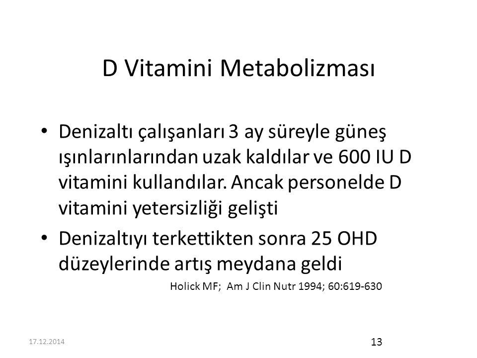 17.12.2014 13 D Vitamini Metabolizması Denizaltı çalışanları 3 ay süreyle güneş ışınlarınlarından uzak kaldılar ve 600 IU D vitamini kullandılar.