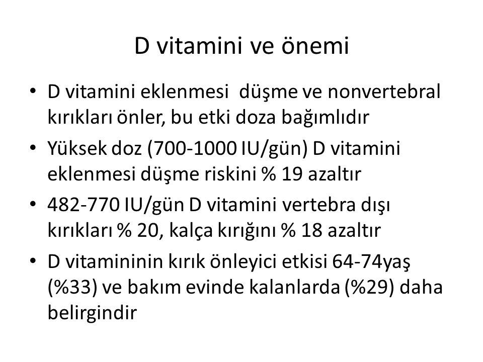 D vitamini eklenmesi düşme ve nonvertebral kırıkları önler, bu etki doza bağımlıdır Yüksek doz (700-1000 IU/gün) D vitamini eklenmesi düşme riskini % 19 azaltır 482-770 IU/gün D vitamini vertebra dışı kırıkları % 20, kalça kırığını % 18 azaltır D vitamininin kırık önleyici etkisi 64-74yaş (%33) ve bakım evinde kalanlarda (%29) daha belirgindir
