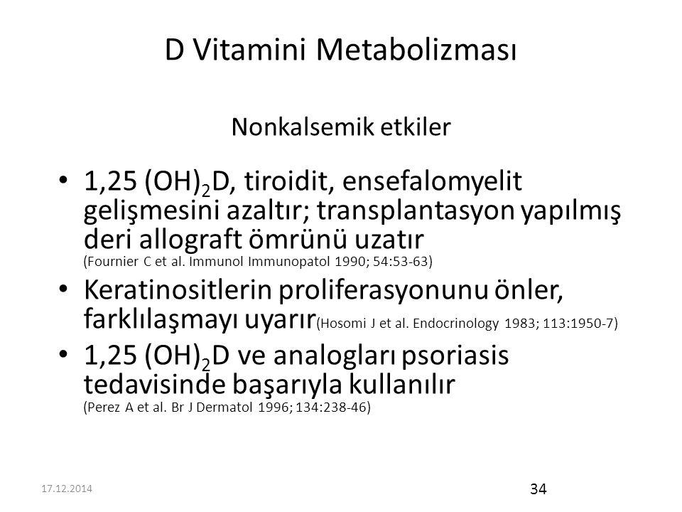 17.12.2014 34 D Vitamini Metabolizması Nonkalsemik etkiler 1,25 (OH) 2 D, tiroidit, ensefalomyelit gelişmesini azaltır; transplantasyon yapılmış deri allograft ömrünü uzatır (Fournier C et al.