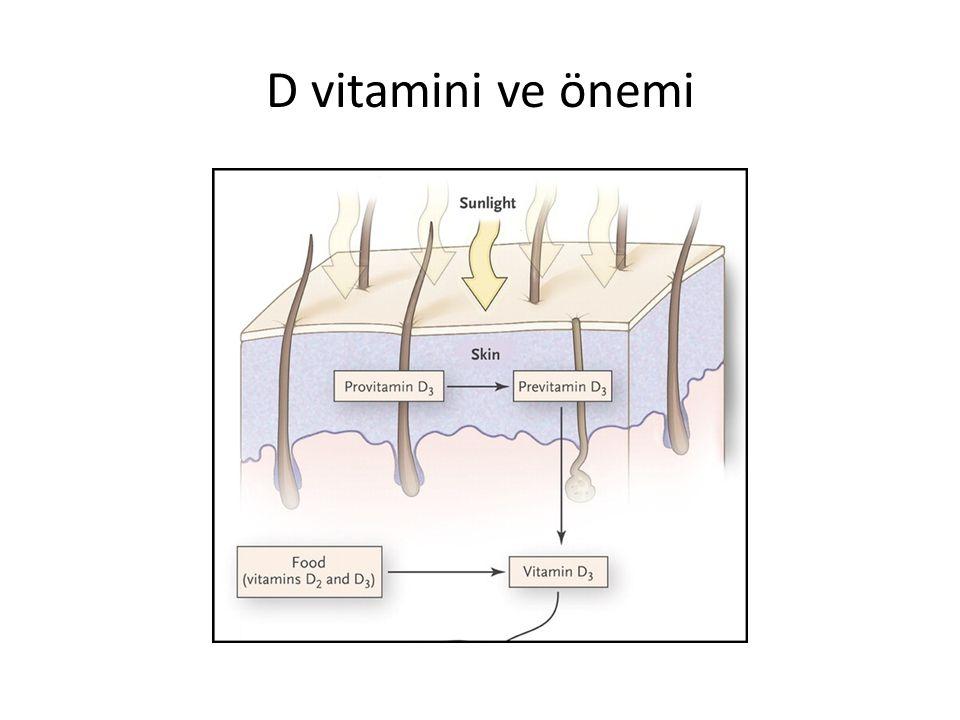 D vitamini ve önemi Epidemiyolojik çalışmalar yüksek enlem bölgelerinde yaşayanlarda bazı kanser türlerinin (kolorektal, prostat, over, meme, akciğer, özofagus) ve bunlara bağlı ölümlerin daha fazla olduğunu göstermiştir D vitamini (Calcitriol ve analogları) Psoriasis tedavisinde başarı ile kullanılmıştır
