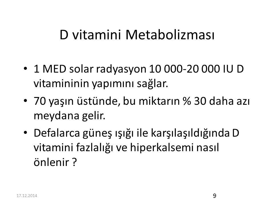 17.12.2014 9 D vitamini Metabolizması 1 MED solar radyasyon 10 000-20 000 IU D vitamininin yapımını sağlar.