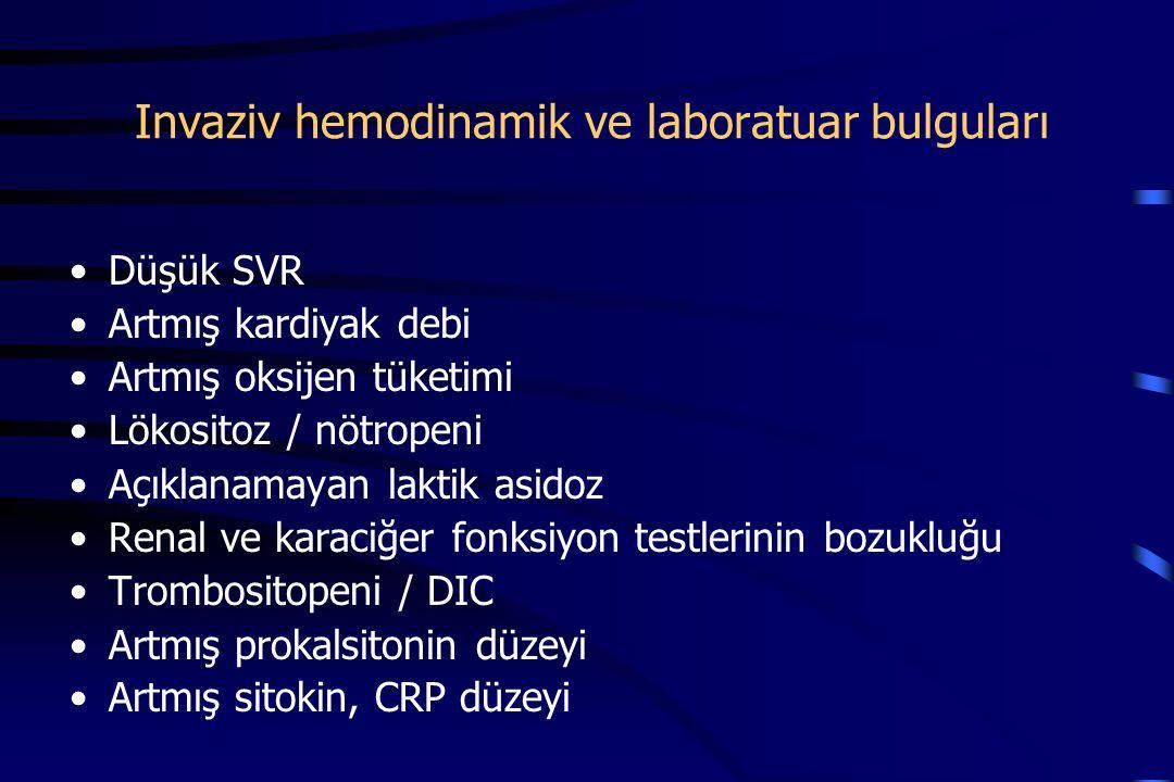 Invaziv hemodinamik ve laboratuar bulguları Düşük SVR Artmış kardiyak debi Artmış oksijen tüketimi Lökositoz / nötropeni Açıklanamayan laktik asidoz Renal ve karaciğer fonksiyon testlerinin bozukluğu Trombositopeni / DIC Artmış prokalsitonin düzeyi Artmış sitokin, CRP düzeyi