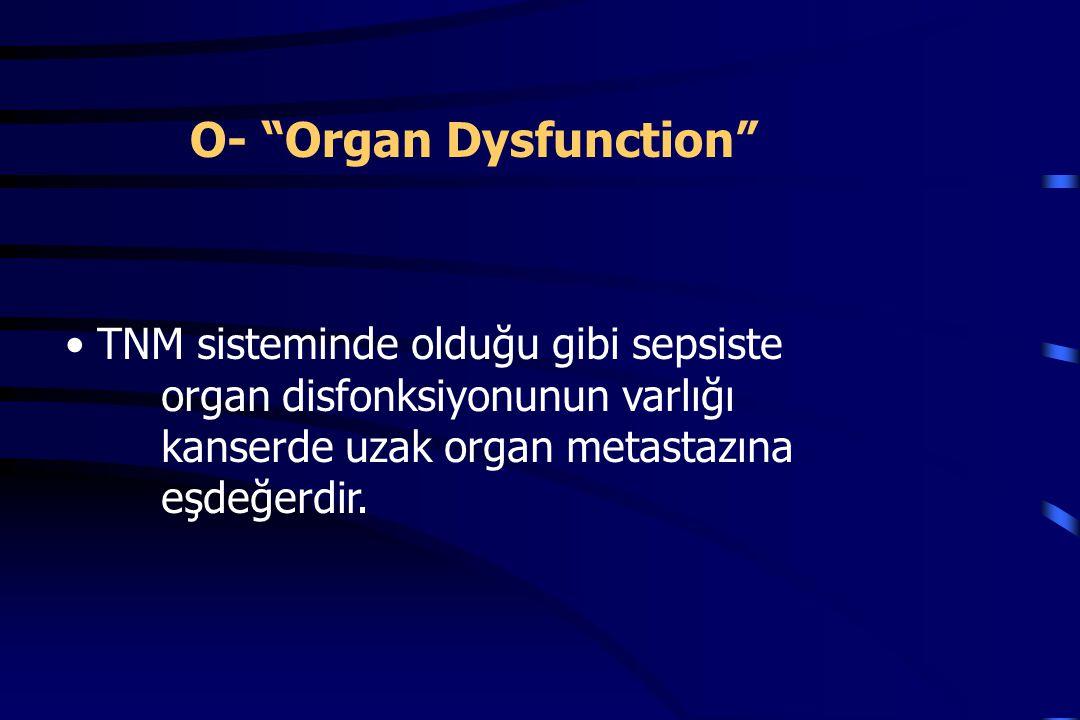 TNM sisteminde olduğu gibi sepsiste organ disfonksiyonunun varlığı kanserde uzak organ metastazına eşdeğerdir.