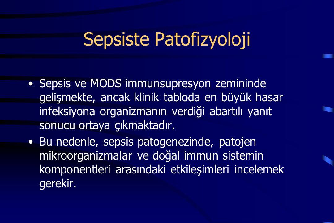 Sepsiste Patofizyoloji Sepsis ve MODS immunsupresyon zemininde gelişmekte, ancak klinik tabloda en büyük hasar infeksiyona organizmanın verdiği abartılı yanıt sonucu ortaya çıkmaktadır.