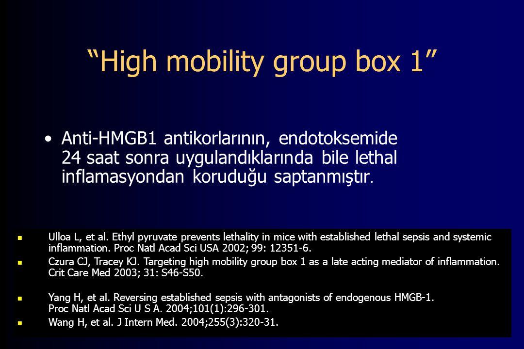 High mobility group box 1 Anti-HMGB1 antikorlarının, endotoksemide 24 saat sonra uygulandıklarında bile lethal inflamasyondan koruduğu saptanmıştır.