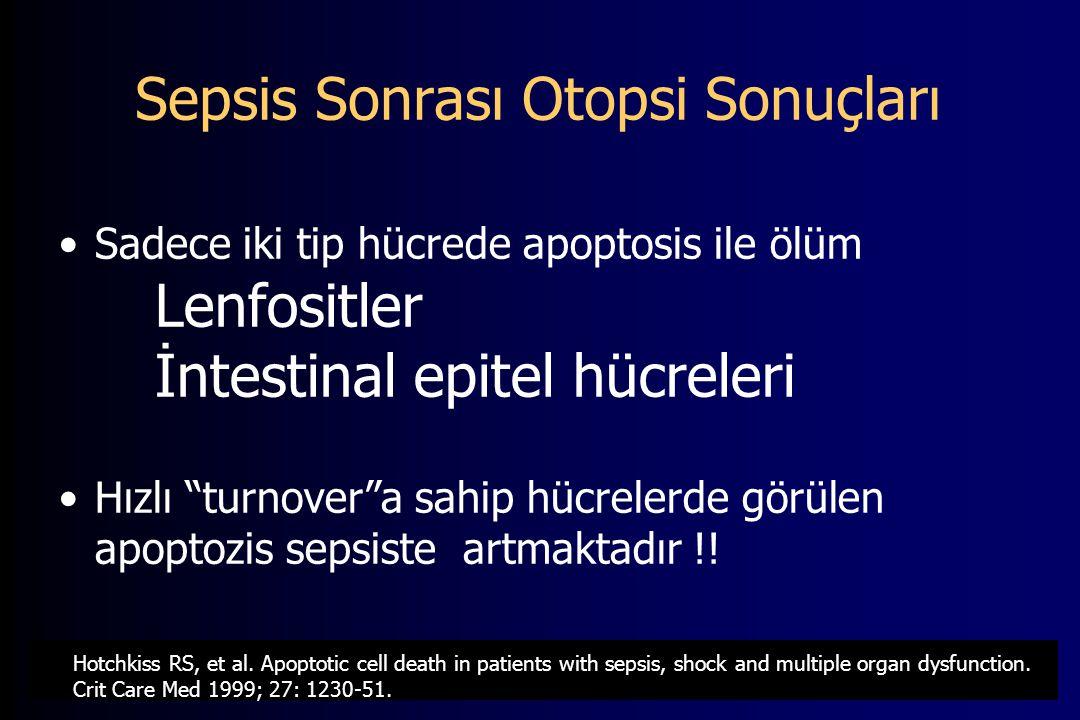 Sepsis Sonrası Otopsi Sonuçları Sadece iki tip hücrede apoptosis ile ölüm Lenfositler İntestinal epitel hücreleri Hızlı turnover a sahip hücrelerde görülen apoptozis sepsiste artmaktadır !.