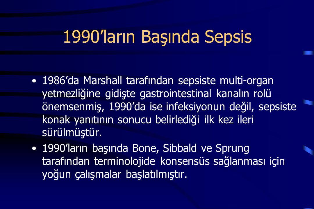1986'da Marshall tarafından sepsiste multi-organ yetmezliğine gidişte gastrointestinal kanalın rolü önemsenmiş, 1990'da ise infeksiyonun değil, sepsiste konak yanıtının sonucu belirlediği ilk kez ileri sürülmüştür.