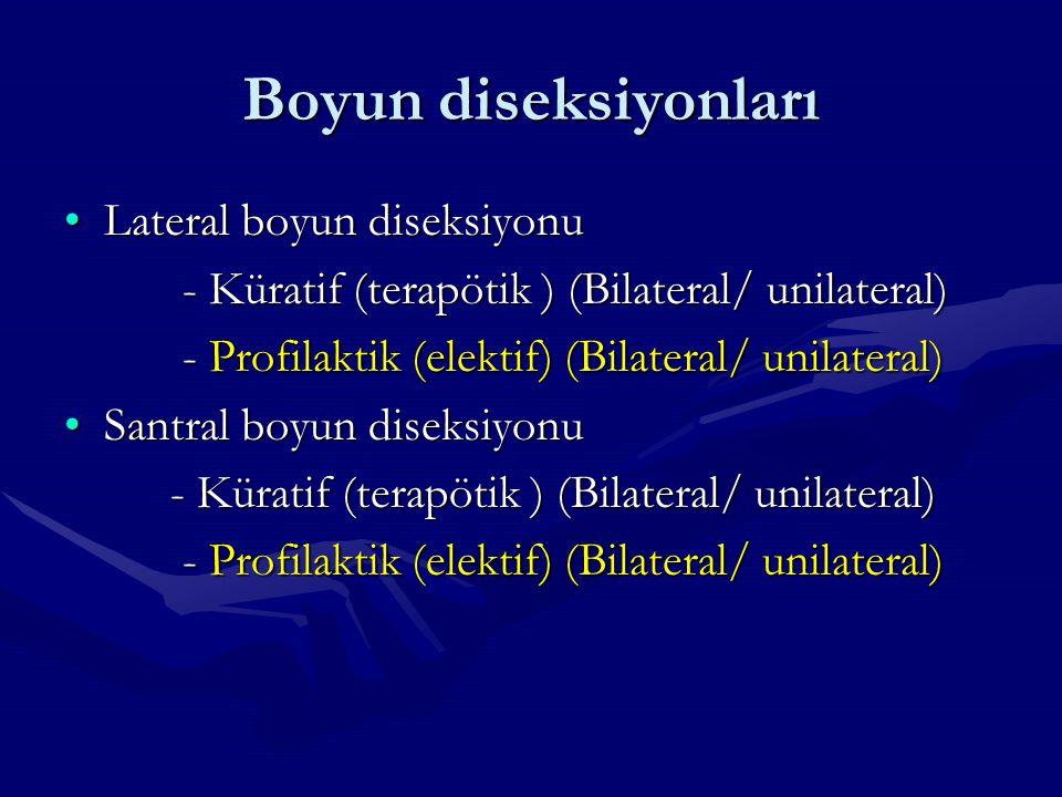 Boyun diseksiyonları Lateral boyun diseksiyonuLateral boyun diseksiyonu - Küratif (terapötik ) (Bilateral/ unilateral) - Küratif (terapötik ) (Bilater