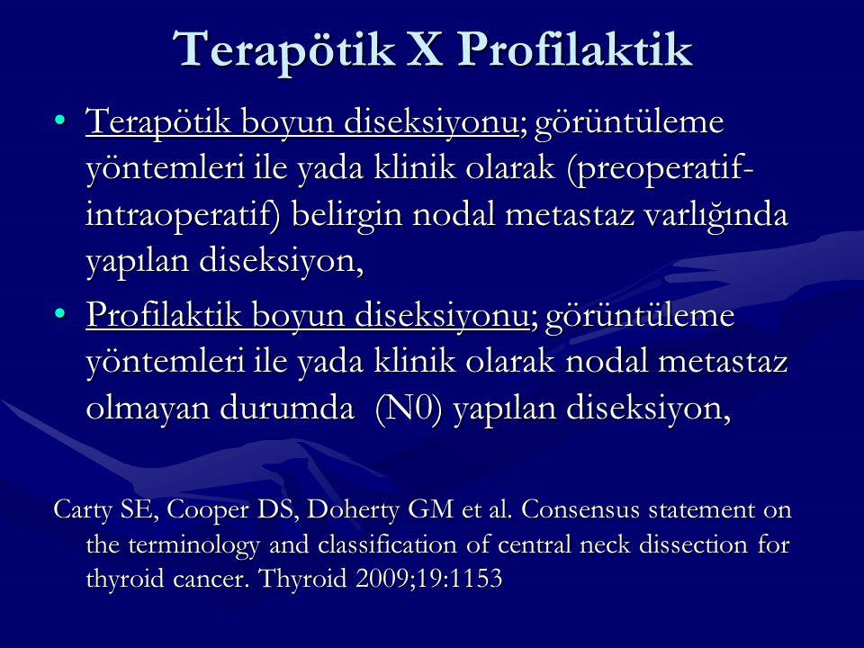 Terapötik X Profilaktik Terapötik boyun diseksiyonu; görüntüleme yöntemleri ile yada klinik olarak (preoperatif- intraoperatif) belirgin nodal metasta