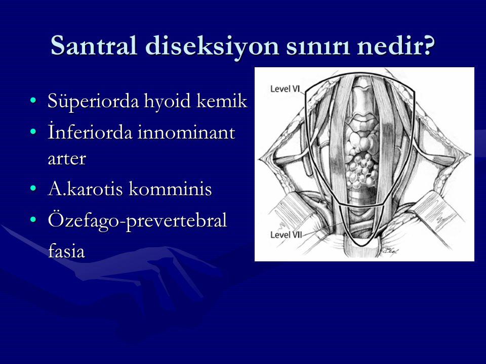 Santral diseksiyon sınırı nedir? Süperiorda hyoid kemikSüperiorda hyoid kemik İnferiorda innominant arterİnferiorda innominant arter A.karotis kommini
