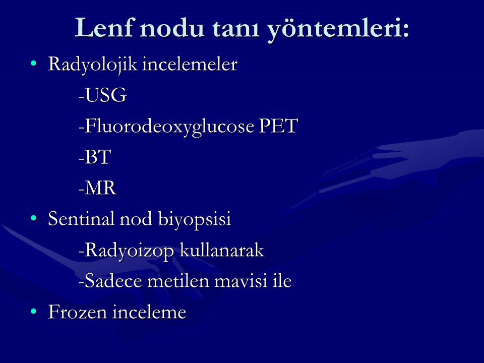 Lenf nodu tanı yöntemleri: Radyolojik incelemelerRadyolojik incelemeler-USG -Fluorodeoxyglucose PET -BT-MR Sentinal nod biyopsisiSentinal nod biyopsis