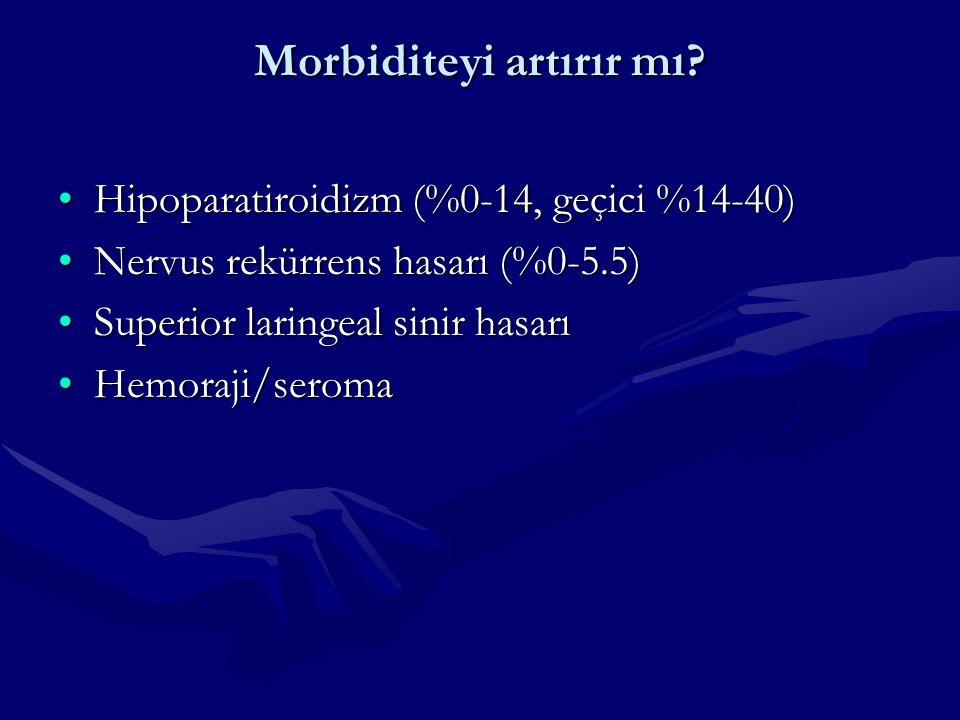 Morbiditeyi artırır mı? Hipoparatiroidizm (%0-14, geçici %14-40)Hipoparatiroidizm (%0-14, geçici %14-40) Nervus rekürrens hasarı (%0-5.5)Nervus rekürr