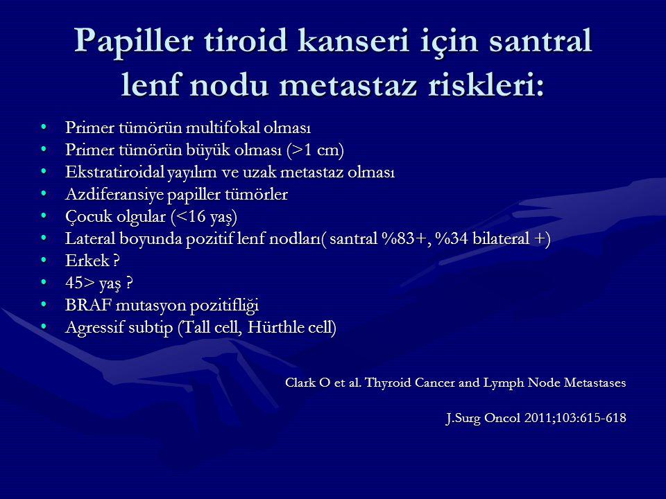 Papiller tiroid kanseri için santral lenf nodu metastaz riskleri: Primer tümörün multifokal olmasıPrimer tümörün multifokal olması Primer tümörün büyü