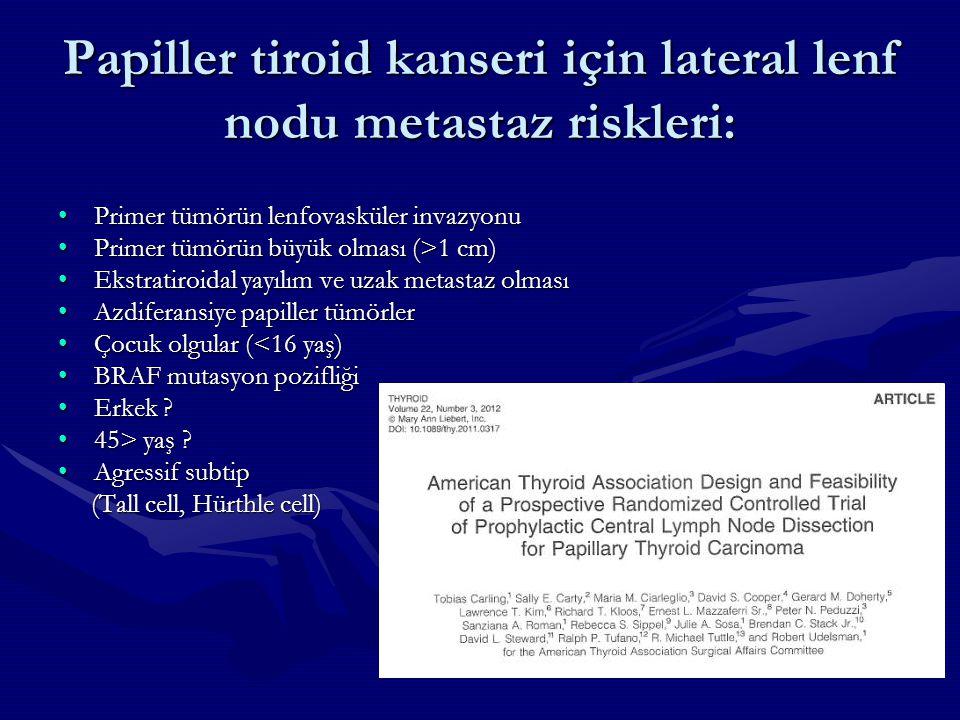 Papiller tiroid kanseri için lateral lenf nodu metastaz riskleri: Primer tümörün lenfovasküler invazyonuPrimer tümörün lenfovasküler invazyonu Primer